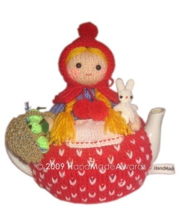 LITTLE RED RIDING HOOD with her BUNNY and BASKET of green APPLES TEA COSY  CROCHET PDF email  PATTERN