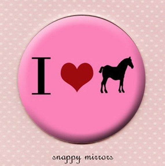 I love horses - black and  pink  - Pocket Mirror