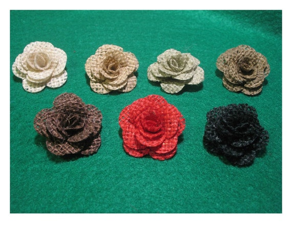 6 mini Burlap Roses - choice of colors