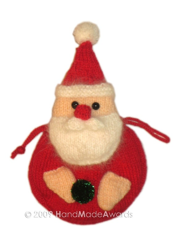 ADORABLE CHRISTMAS SANTA CLAUS PURSE BAG pocket friend KNIT PATTERN pdf EMAIL by HandMadeAwards