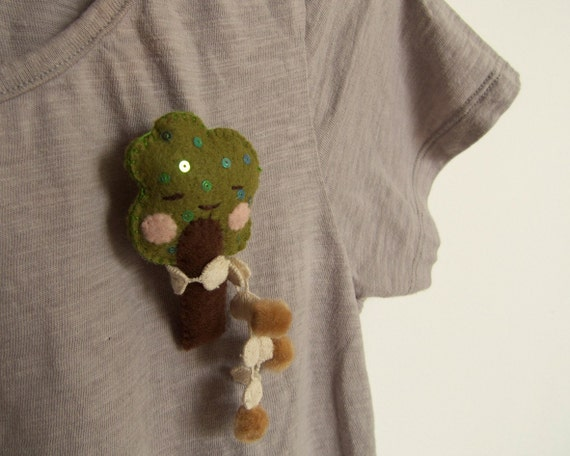 Trippy mocha tree - brooch