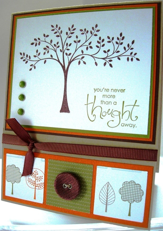 Handstamped You're Never More Than a Thought Away card with Trees