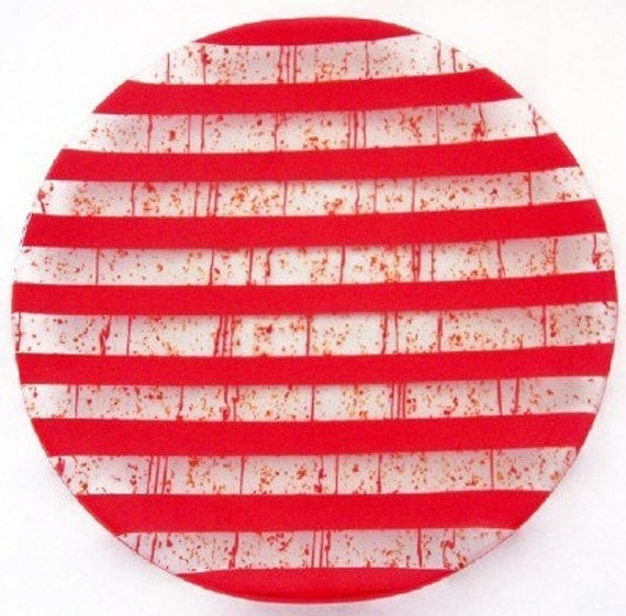 Red Hot Fireworks Glass Platter