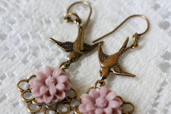 Gold Swallow and Flower Cabochon Earrings, Swallows
