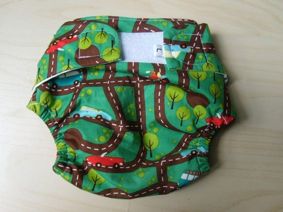 NEW- Cloth Diaper Cover- Going for Ride- Large