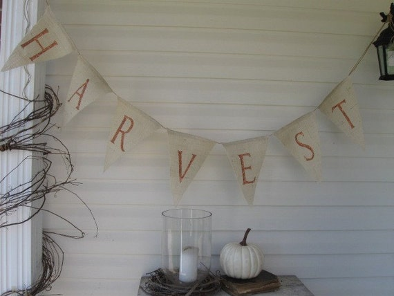 HARVEST....Beautiful Glitter Burlap Banner