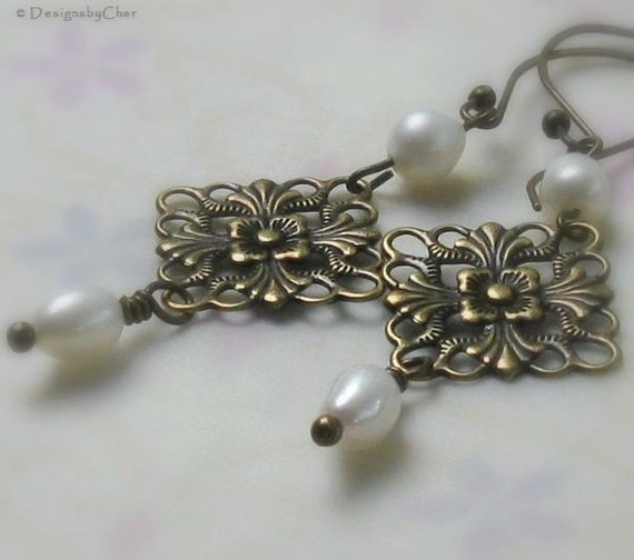 Antique Brass Filigree Pearl Earrings  by designsbycher on Etsy from etsy.com