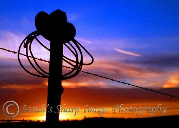 Post and Rope South Dakota an Orange Sunset , Original 8x10 Photograph