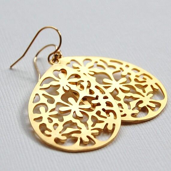 Moroccan Inspired Earrings - Gold Teardrops