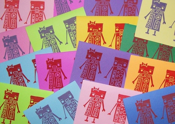 Robot Couple Note Cards
