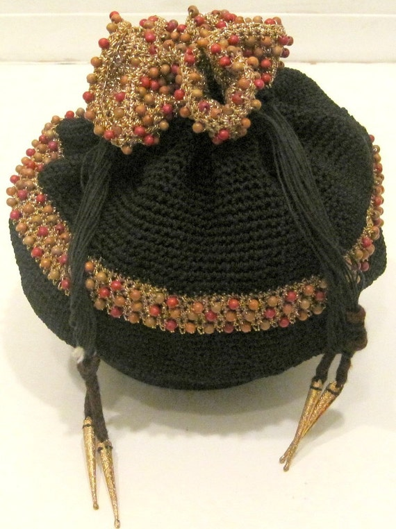 VINTAGE BEADED DRAWSTRING BAG