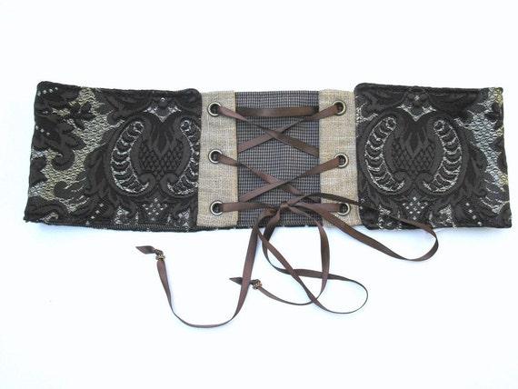 Brown Damask Corset Belt Victorian Steampunk