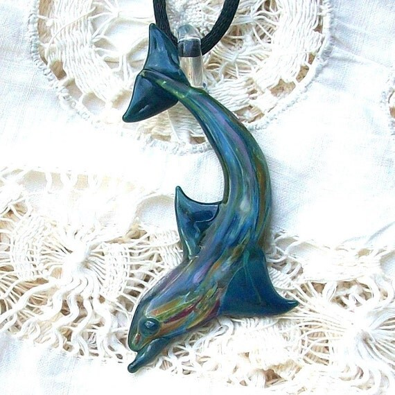 Diving Dolphin Hand Blown Glass Pendant
