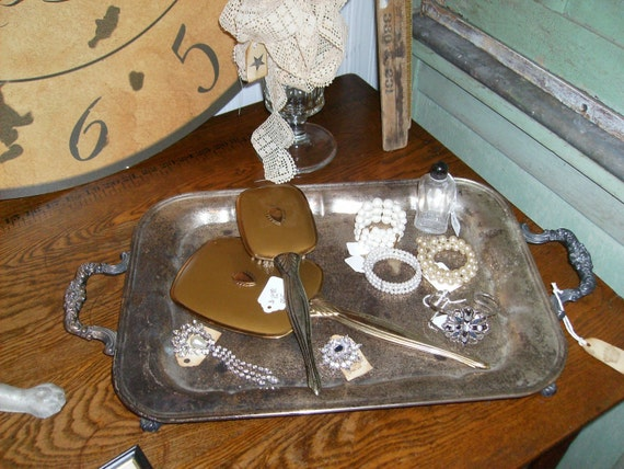 1908 Silver Serving Tray FOOTED w HANDLES ORNATE GORGEOUS HUGE FREE SHIPPING