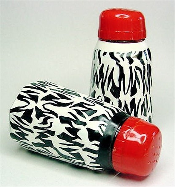 Funky Vintage Zebra Print Salt and Pepper Shakers, OOAK