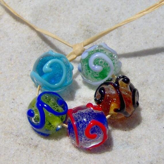 Handmade Lampwork Fizzy Swirl Beads, SRA