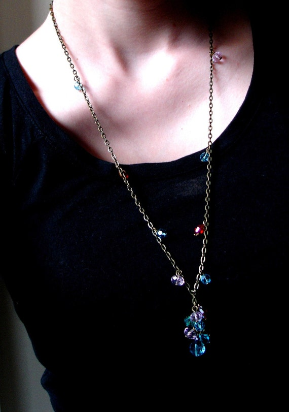 All That Glitters. Long Crystal Necklace with Bronze Chain