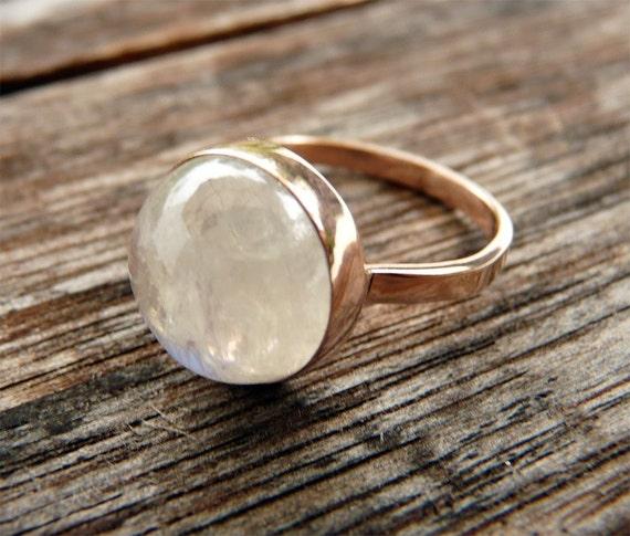 Rainbow Moonstone Bezel set Ring - 14 karat PINK gold