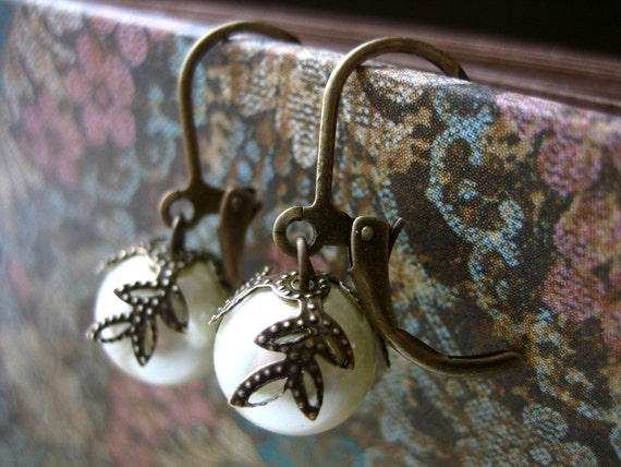 pretty pearls - leaf bead capped glass pearls on antique bronze.