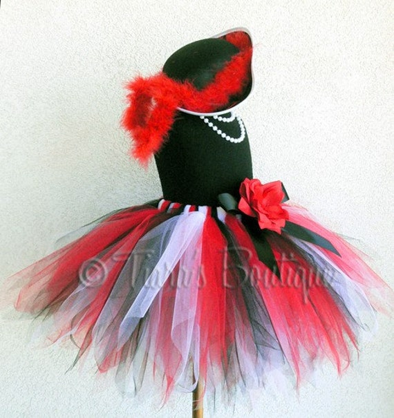 Red Black White Custom Pirate Pixie Tutu - Sewn 14.5'' pixie tutu - Features Skull and Crossbones Adorned Rose Clip - Perfect for Birthday Parties, Halloween Costumes, and Dress Up Fun