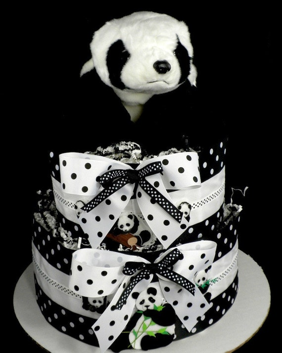 2 Tier Playful Panda Bear Diaper Cake Baby Shower Centerpiece Gift Neutral Zoo Safari Rainforest