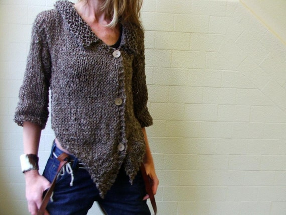 Brown Alpaca blend tweed cardigan size medium - large