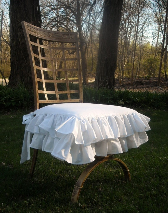 White Ruffled Chair Cover