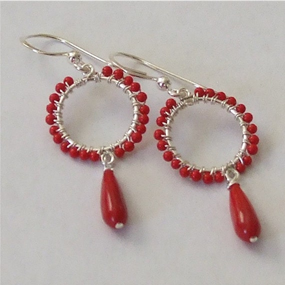 Red Coral Wire Wrapped Hoops