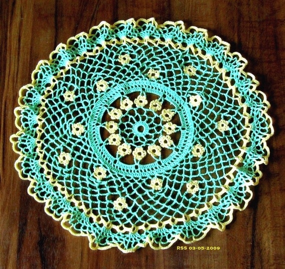 YELLOW Flowers in GREEN Lace Doily, Crochet Thread Art, Spring Home Decor