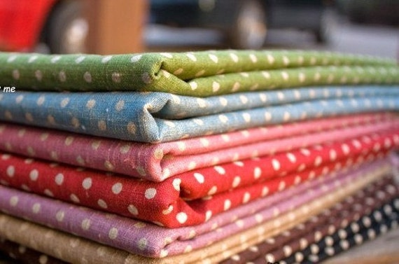 Zakka Rainbow Red Blue Brown Pink Green Black White Polka Dot Cotton Linen FQ Fabric Cloth Set 8's  22 x 20  inches Each