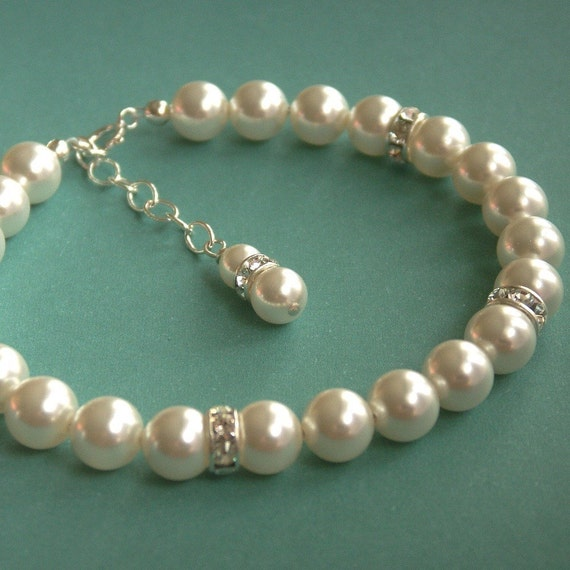 Rhinestone and Pearl Bridal Bracelet - Swarovski Crystal on Sterling Silver