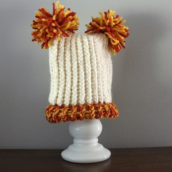 Baby Hat - Knit Orange White Halloween Pom Pom Photo Prop