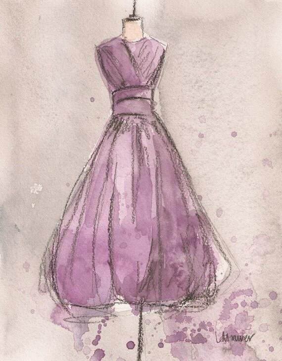 Original - Watercolor and Charcoal Painting - Vintage Lemon Lavender Dress - 8x10