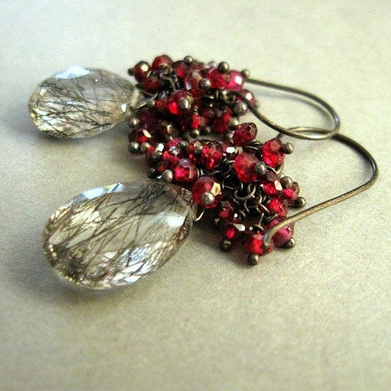 garnet and rutilated quartz earrings