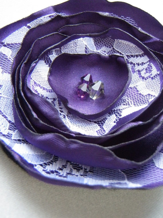 Purple Satin and Lace Flower Brooch
