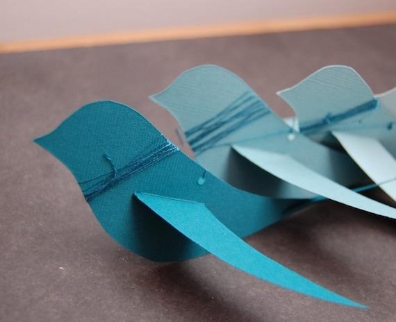 Teal Paper Bird Mobile Kit