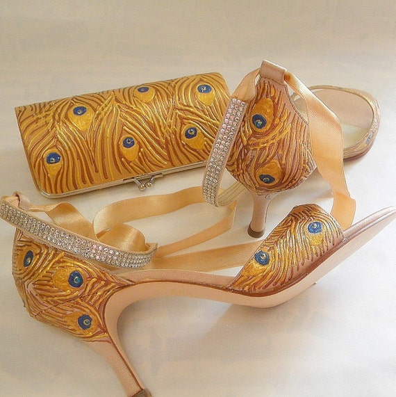 Unique Bridal set shoes and clutch FALL WEDDING peacock feather gold rhinestones ON SALE