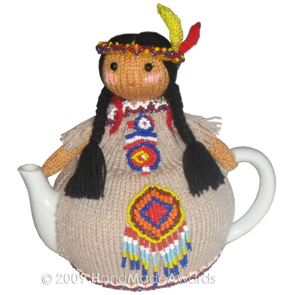 NATIVE AMERICAN INDIAN with BABY TEA COSY pdf EMAIL KNIT PATTERN