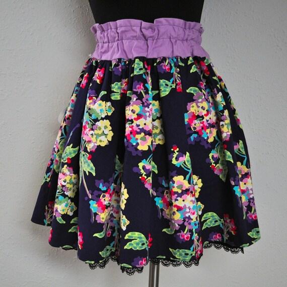 Water Bouquet Skirt - Lavender Elastic Waistband - Lace Trim