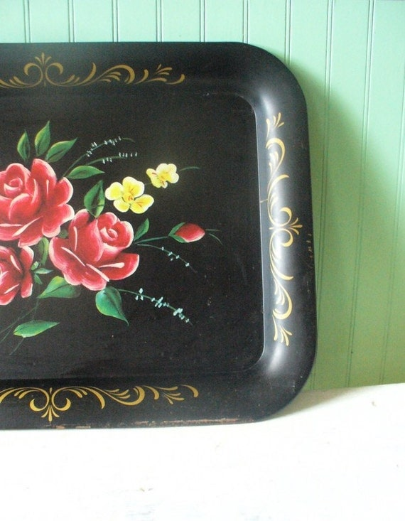 Vintage Metal Floral Tray Black with Red Roses and Yellow Flowers--Shabby Chic Cottage