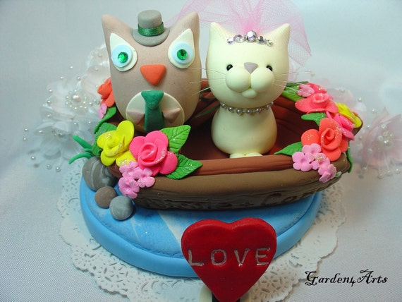 Love owl and cat with sweet boat and ocean base (custom order)