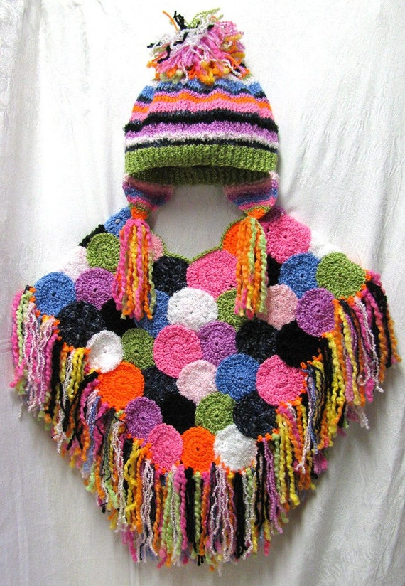 Girl's Bright Circles Multi-Colored Poncho and Hat Set