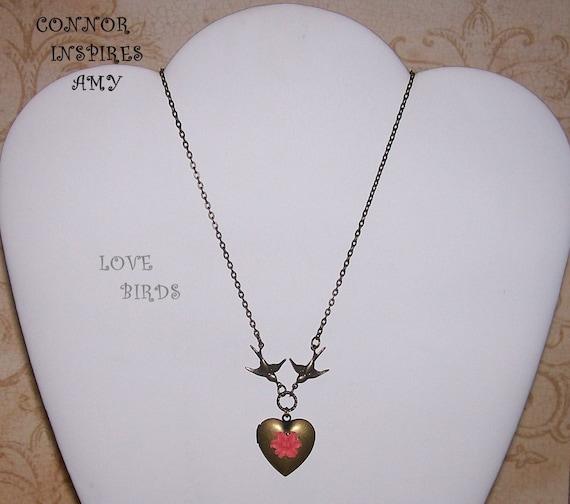 Love Birds Locket Necklace