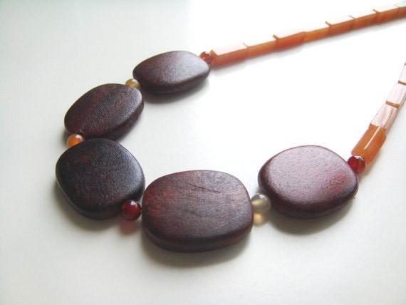 Pumpkin Spice Necklace - Wood, Aventurine, Carnelian