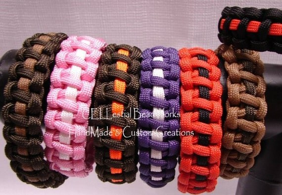Paracord SURVIVOR Bracelets - Solid Color with Stripe