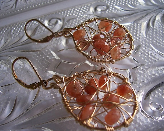 Sunstone and gold wire wrapped woven hoop earrings