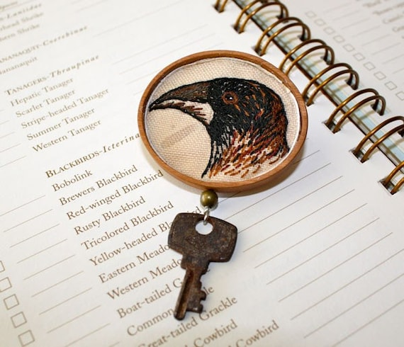 Crow and Key Hand Embroidery Steampunk Brooch