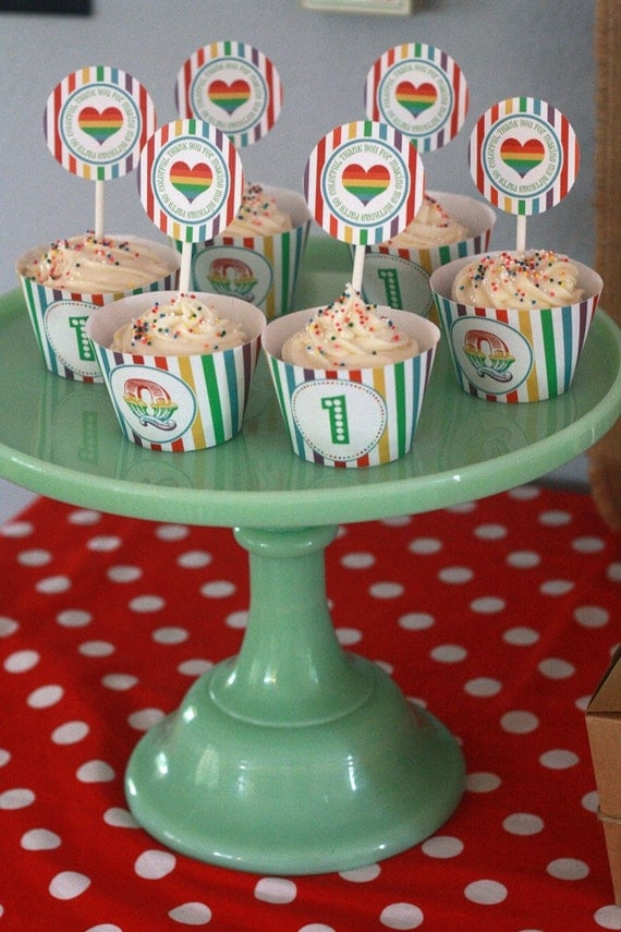 DIY Printable Cupcake Wrappers- Rainbow Birthday Party- Circus- Customized
