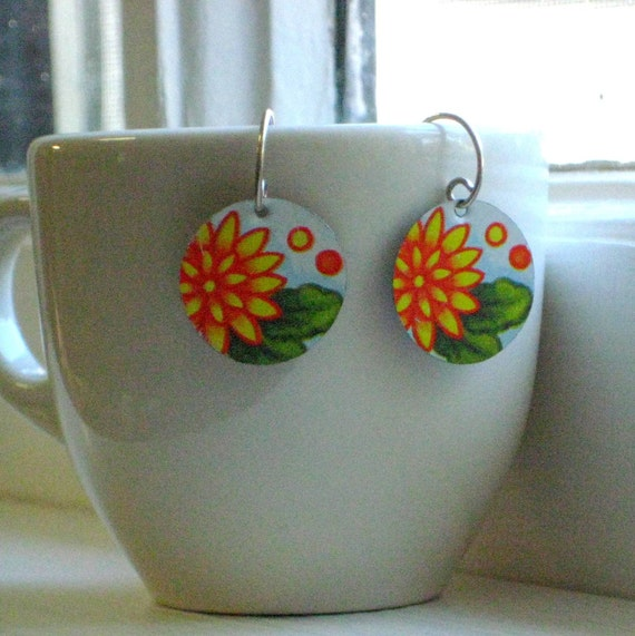 Saffron Yellow Dahlia Earrings