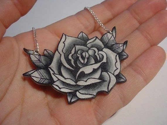 big vintage black and white surreal tattoo rose necklace. From wickedminky